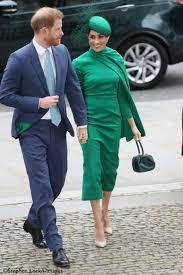 Meghan In Emerald Green Emilia Wickstead for Commonwealth Service