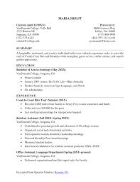 Sample Resume College Student Resume Work Template