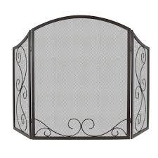 iris 3 panel scroll fireplace screen in black