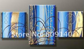 office artwork canvas. free shipping blue golden abstract oil painting canvas modern decoration high quality handmade home office wall art decor new artwork o