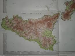Grande Antica Mappa Geografica Calabria Sicilia Lampedusa Ustica Lipari Leuca
