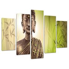 5 part buddha canvas pictures lime