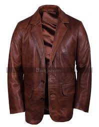 mens brown italian leather blazer jacket