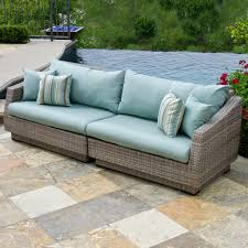 rst brands cannes piece patio sofa with bliss blue cushionsop