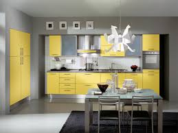 Yellow Kitchen White Cabinets Gray Cabinets With Pendant Lights Yellow Shelves And Workspace