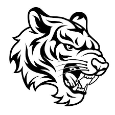 tiger head clip art black and white. Roaring Tigers Head Isolated On White Black And Vector Illustration To Tiger Clip Art