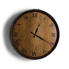 Wine barrel wall clock in purist design. Wine Barrel Head Clock With Dark Finish Decor De Vin