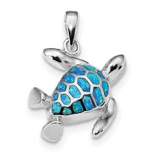 925 sterling silver blue inlay created opal turtle pendant charm necklace sea life fine jewelry gifts for women for her