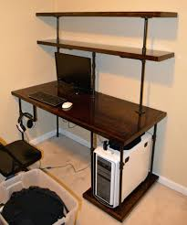 beautiful chris computer desk shelves steampunk pipe modern upcycle repurpose shelving system by rallisonwoodworks steampunk