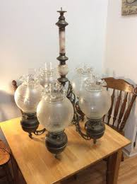 antique john scott 5 arm brass kerozene oil lamp chandelier great condition 1798179169