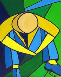 Yellow Blue Green Man In Blue Green And Yellow Original Painting By Michael Arnold
