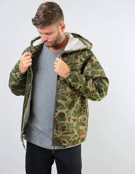 Brixton Claxton Sherpa Jacket - <b>Olive Camo</b> – Route One