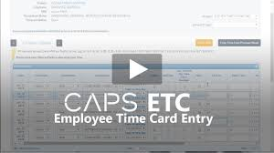 Timecard Ca Caps Etc Employee Time Card Entry Youtube