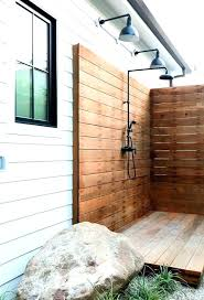 wooden outdoor shower the in jewelry designer home kit camping enclosure show