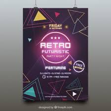 Party Template Futuristic Party Poster Template Vector Free Download