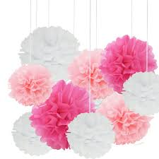 Paper Flower Balls To Hang From Ceiling 24pcs Craft Paper Tissue Pom Poms Doubletwo Ceiling Decor Wall Decor 12inches 10inches 8inches Hanging Paper Pom Poms Flower Ball Wedding Party