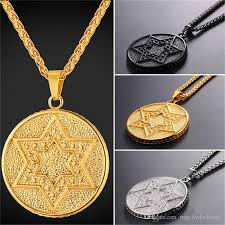 whole u7 jewelry magen star of david pendant necklace jewelry stainless steel 18k gold plated chain medal charm necklace men women gp2706 diamond heart