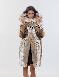 bobcat natural long hair coat