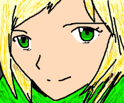 anime with blond hair green eyes and gr