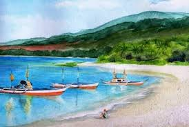 landscape paintings on the beach of calayan island located in the philippines white sand that lay there is a fisherman who was waiting for what