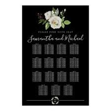 15 Table Seating Chart White Rose Floral On Black 15 Table Seating Chart