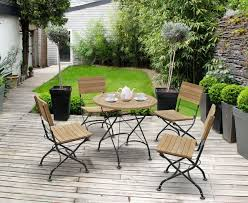 teak folding bistro round 0 8m table 4 side chairs