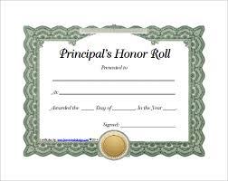 Principal Award Certificate 8 Printable Honor Roll Certificate Templates Samples