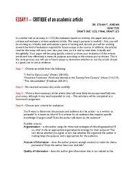 How To Critique An Essay Essay 1 Critique Of An Academic Article Bgsu Blogs