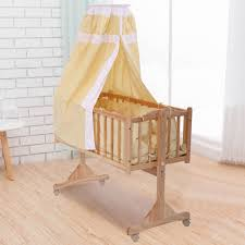 solid wood baby furniture. Mini Crib Baby Cradle Infant Solid Wood Toddler Nursery Circular Canopy Furniture