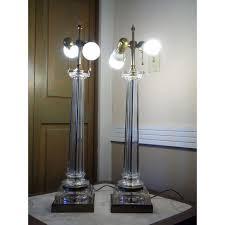 hollywood regency lighting. mid century modern pair paul hanson hollywood regency glass column table lamps image 9 of lighting
