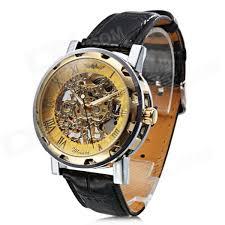 men s semi automatic mechanical skeleton watch black gold men s semi automatic mechanical skeleton watch black gold