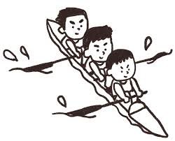3人乗りカヌーを漕いでいる人達のイラストスポーツ ゆるかわいい