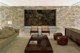 modern luxury mirindiba house design stone wall living room