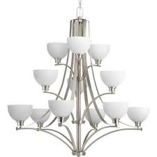 progress lighting p4653 legend 12 light 3 tier chandelier with bowl shades brushed nickel