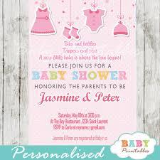 Baby Shower Invitation Cards Pink Clothesline Baby Shower Invitation D150