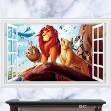 3d window generic the lion king animals mufasa mountain decal wall sticker decor kindergarten living room vinyl inspiration art wall decals home decor wall