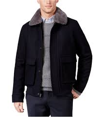 details about tasso elba mens faux fur collar aviator jacket