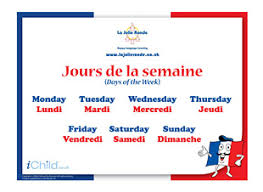 French Days Of The Week Days Of The Week In French Ichild
