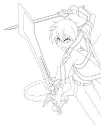 Sword Art Online Kirito Lineart by animemineus | Coloring Pages ...