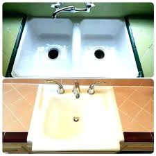 how to reglaze a sink bathroom sink sink sink sinks plumbing the look you expected all along kitchen sink kit reglaze porcelain kitchen sink reglazing black