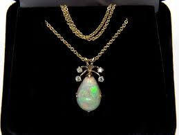 vintage italian teardrop australian opal diamond 14k pendant necklace phoenix jewelry ruby lane