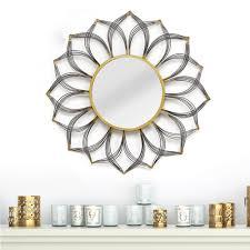 stratton home decor 31 5 in round decorative gie wall mirror