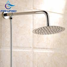 rain shower head wall mount. Wall Mounted Chrome Finish Round Rain Shower Head Brass Arm Hose G1/2\ Mount -