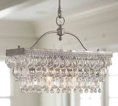 glass drop rectangular chandelier pottery barn with regard to clarissa chandelier view 29 of
