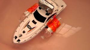 rc electric boat being tested in bath tub
