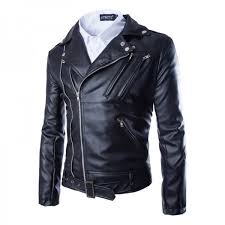 mens leather jacket slim fit motorcycle jackets men zipper lightweight punk leather jackets men faux leather coats