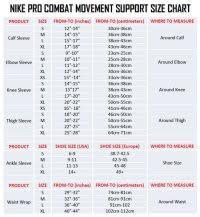 Nike Shooting Sleeve Size Chart Size Chart Womens Long