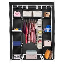 yescom 50 portable closet organizer wardrobe clothes rack cupboard hanging storage w shelves metal frame zippers com