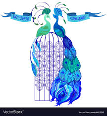Peacock Design Pictures Couple Peacocks Ribbon With Text Blue Design