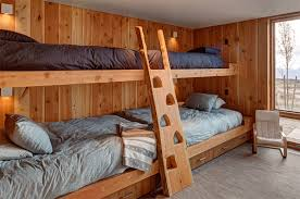 rustic style four beds kids bedroom